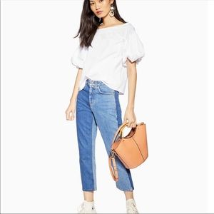 Topshop Poplin Off Shoulder Puff Sleeve Blouse